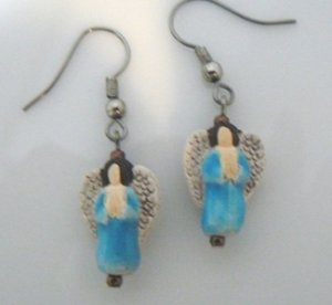 Hand Painted Ceramic Dangle Angel Earrings #01