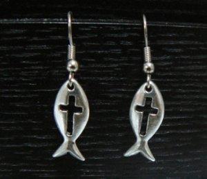 Pewter Fish w/ Cross Earrings