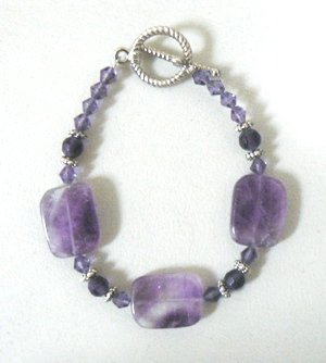 Amethyst Beaded Toggle Bracelet.