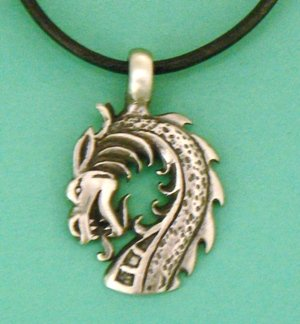 Celtic Dragon Head Pewter Pendant / Necklace