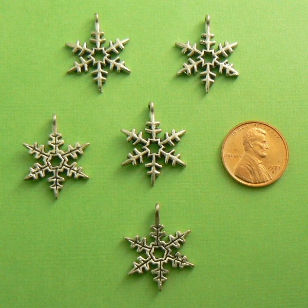 Snowflake Charms - Silver Toned - Lot of 5