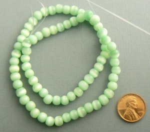 Cats Eye Beads 5-6mm Grade C-D Strand - Light Green