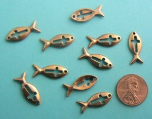 Fish w/ Cross Charms - Copper Plated - Lot of 10