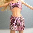 Barbie Outfit - Handmade Bikini Top & Skirt - Pink Squares