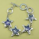 Blue Star Glass & Metal Bracelet w/ Adjustable Toggle Clasp