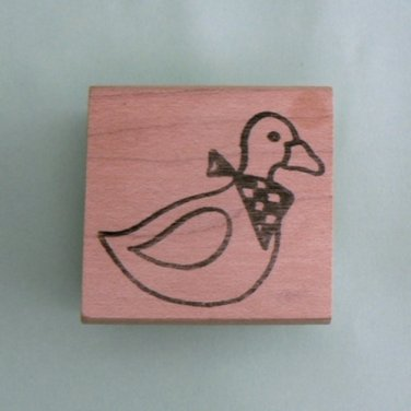 Duck with Bandana Wood Mounted Rubber Stamp