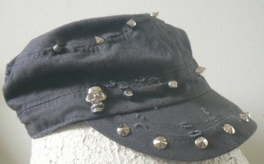 D&Y Womens Hat Cadet Baseball Cap w/ Skulls Spikes - Dark Gray / Silver / Distressed NWT