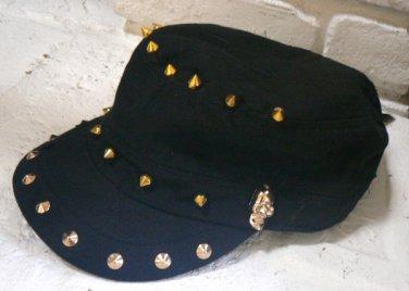 D&Y Womens Hat Cadet Baseball Cap w/ Skulls Spikes - Black / Gold / Distressed NWT