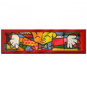 The Hug by Britto - Laminated RED BACKGROUND Art 62 x 19