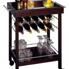 Winsome Wood Bar Cart, Mirror Top, wine rack-Espresso
