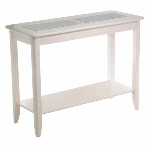 Winsome Wood Bianca Hall / console Table with Frosted Glass and shelf-Creamy White
