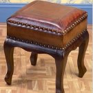 Brown Leatherette Square Foot Stool