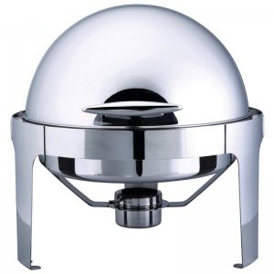 Heavy-Duty Maxam® Stainless Steel Round Chafing Dish with Roll Top for Professional Use