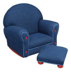 KidKraft Denim Upholstered Rocker & Ottoman