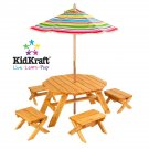 KidKraft Octagon Table & 4 Stools and Multi Striped Umbrella