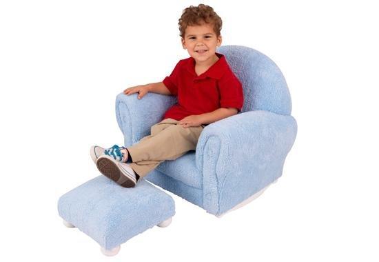 KidKraft Powder Blue Chenille Upholstered Rocker & Otto