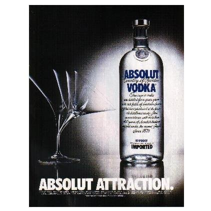 ABSOLUT ATTRACTION Vodka Magazine Ad