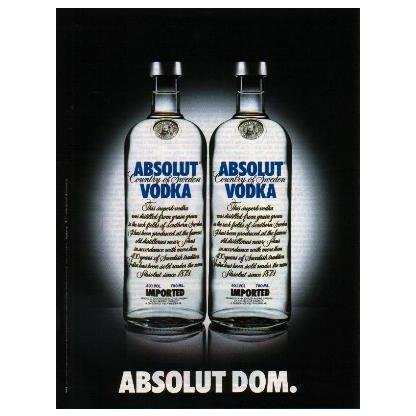 ABSOLUT DOM German Language Vodka Magazine Ad