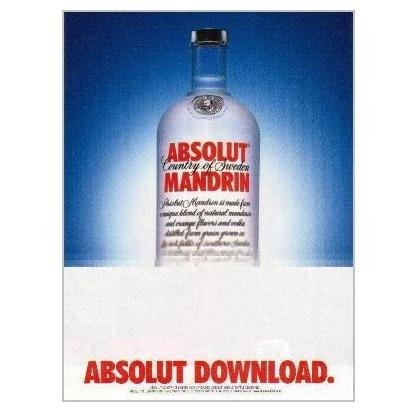 ABSOLUT DOWNLOAD Vodka Magazine Ad