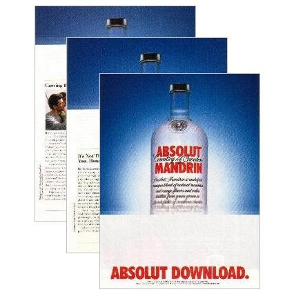 ABSOLUT DOWNLOAD 3-Page Spectacular Vodka Magazine Ad