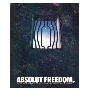 ABSOLUT FREEDOM Vodka Magazine Ad PRISON CELL WINDOW