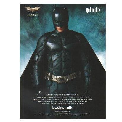 BATMAN THE DARK KNIGHT got milk? Milk Mustache Magazine Ad © 2008