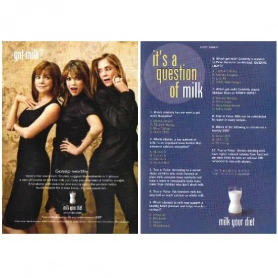 BOBBIE EAKES ET AL and IT�S A QUESTION OF MILK got milk? Milk Mustache 2-Sided Magazine Ad © 2008
