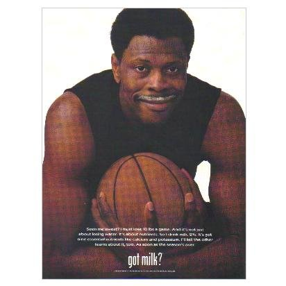 PATRICK EWING got milk? Milk Mustache Magazine Ad © 1999
