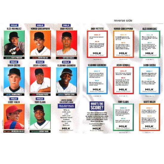 MILK MUSTACHE Limited Edition Sports Illustrated For Kids Collector's Baseball Cards ca 1998