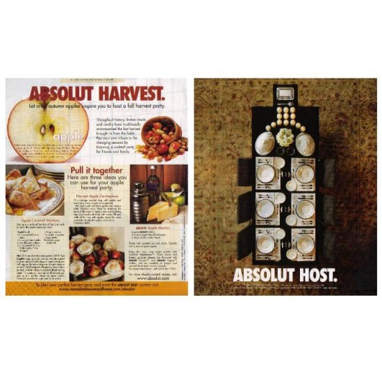 ABSOLUT HOST and ABSOLUT HARVEST Vodka Magazine Ads