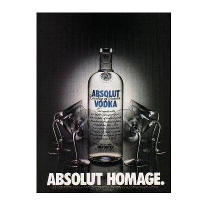 ABSOLUT HOMAGE Vodka Magazine Ad