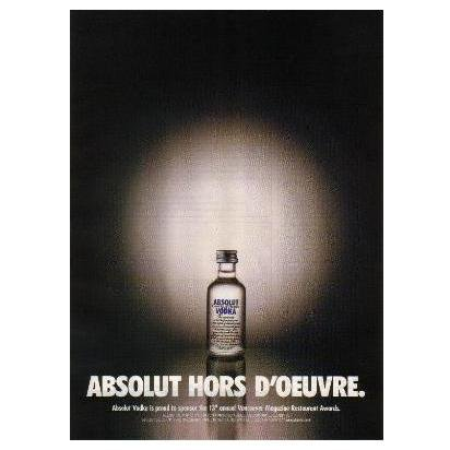 ABSOLUT HORS D'OEUVRE Vodka Magazine Ad 13th Restaurant Awards