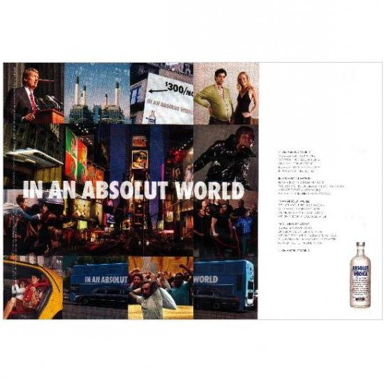 IN AN ABSOLUT WORLD Vodka Magazine Ad COLLAGE 2pp
