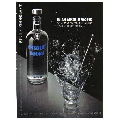 IN AN ABSOLUT WORLD Spanish Language Vodka Magazine Ad DEL AUT�NTICO SABOR...