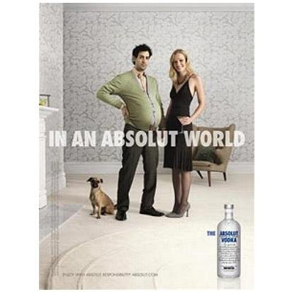 IN AN ABSOLUT WORLD Vodka Magazine Ad PREGNANT MAN