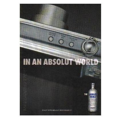 IN AN ABSOLUT WORLD Vodka Magazine Ad TONE ABS INCREASE MOJO