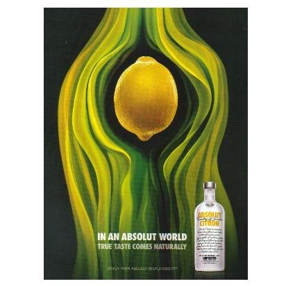 IN AN ABSOLUT WORLD Vodka Magazine Ad TRUE TASTE COMES NATURALLY - CITRON