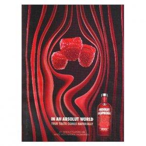 IN AN ABSOLUT WORLD Vodka Magazine Ad TRUE TASTE COMES NATURALLY - RASPBERRI