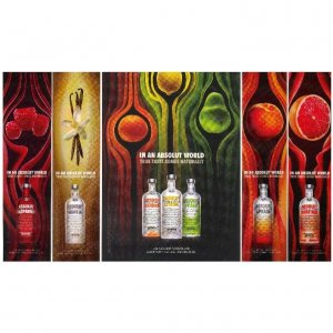 IN AN ABSOLUT WORLD Vodka Spectacular Magazine Ad TRUE TASTE COMES NATURALLY � 7 FLAVORS