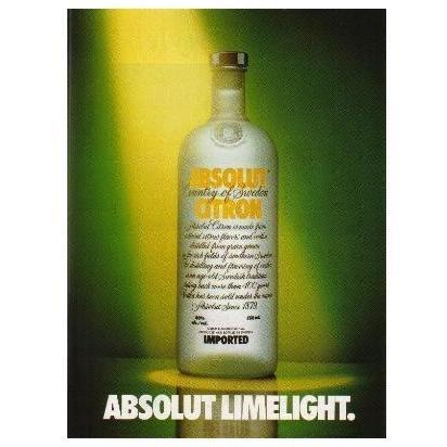 ABSOLUT LIMELIGHT Vodka Magazine Ad