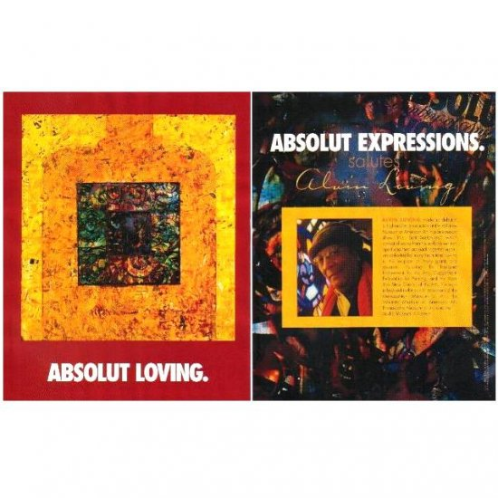ABSOLUT LOVING and ABSOLUT EXPRESSIONS Vodka Magazine Ad ALVIN LOVING 2pp