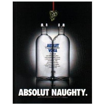 ABSOLUT NAUGHTY Vodka Magazine Ad KISSING BOTTLES & MISTLETOE