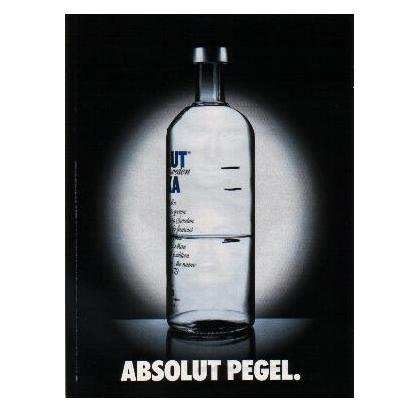 ABSOLUT PEGEL German Language Vodka Magazine Ad