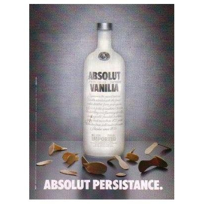 ABSOLUT PERSISTANCE Vodka Magazine Ad SPELLING ERROR!