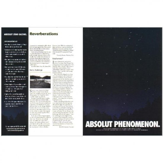 ABSOLUT PHENOMENON and ABSOLUT STAR GAZING Vodka Magazine Ad NOVEMBER NIGHT SKY 2pp