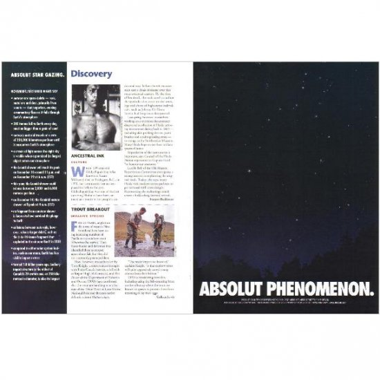 ABSOLUT PHENOMENON and ABSOLUT STAR GAZING Vodka Magazine Ad NOVEMBER/DECEMBER NIGHT SKY 2pp