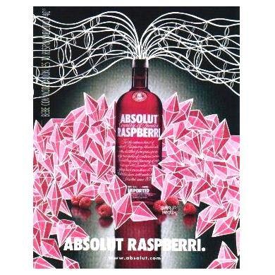ABSOLUT RASPBERRI Vodka Magazine Ad MAYA HAYUK Spanish Text