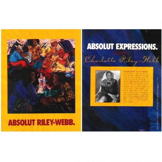 ABSOLUT RILEY-WEBB and ABSOLUT EXPRESSIONS Vodka Magazine Ad CHARLOTTE RILEY-WEBB