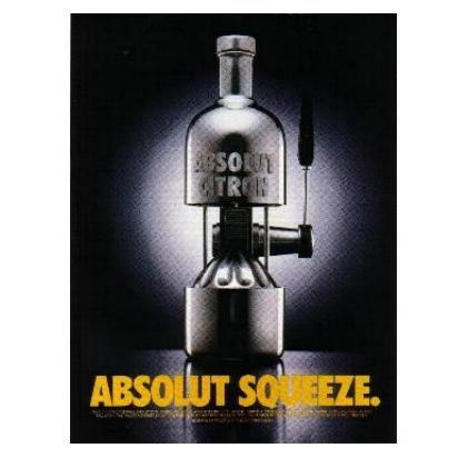 ABSOLUT SQUEEZE Vodka Magazine Ad CITRON