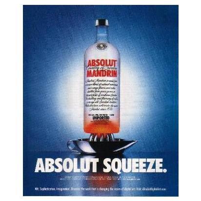 ABSOLUT SQUEEZE Vodka Magazine Ad MANDRIN w/ AbsolutDigitalArt.com Caption